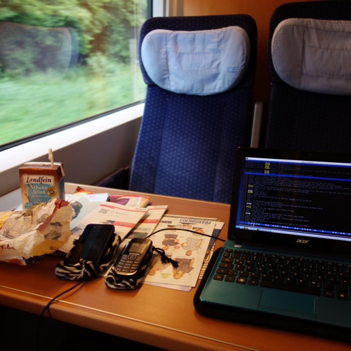 Faster IT works globally. A train, a plane, a desk at out customers' are all perfect offices for us.